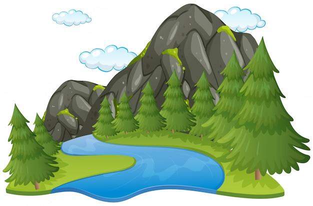 Scena z rzeką i górą