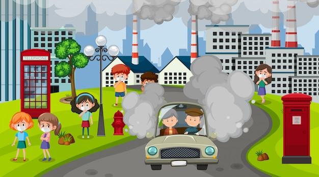 Scena z samochodami i budynkami fabrycznymi robiącymi brudny dym w mieście