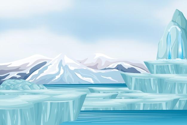 Scena z śniegiem i górą lodową