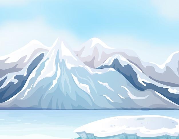 Scena z śniegiem na dużych górach i rzece