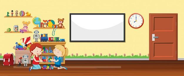 Scena z tablicą i zabawkami