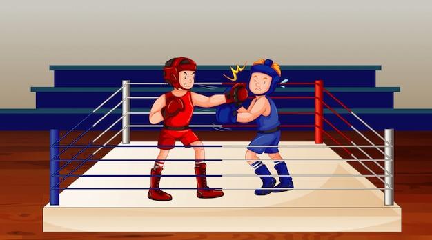 Scena z walkami boksera na ringu