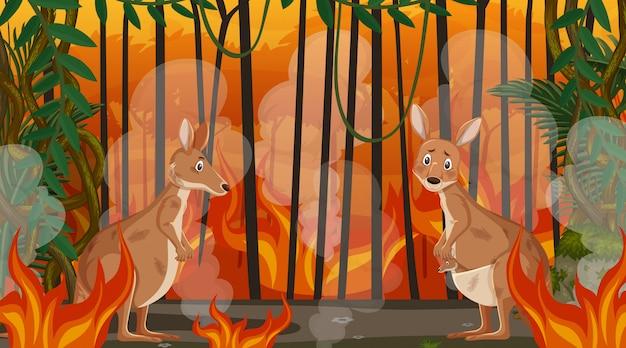 Scena z wielkim pożarem ze zwierzęciem uwięzionym w lesie