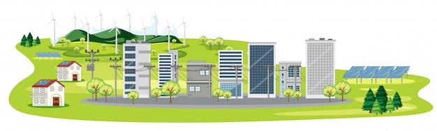 Scena z wieloma budynkami i ogniwami słonecznymi