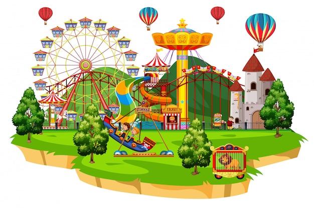 Scena z wieloma dziećmi bawiącymi się w cyrkowych przejażdżkach