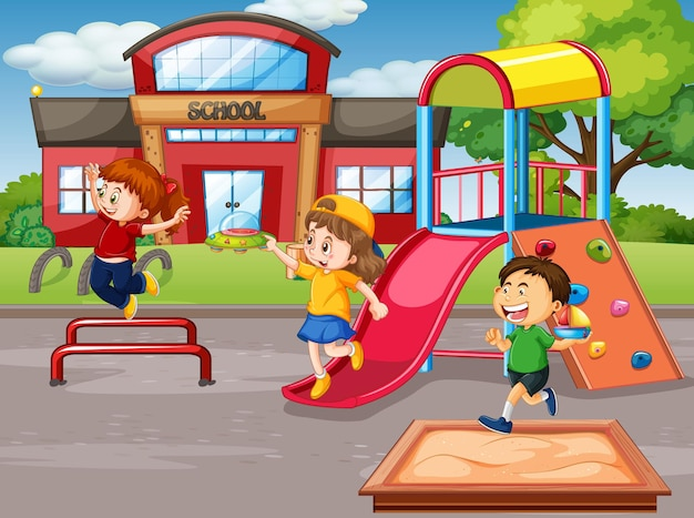 Scena z wieloma dziećmi na placu zabaw