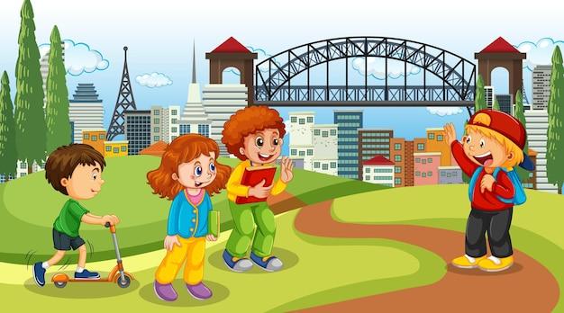 Scena z wieloma dziećmi w parku