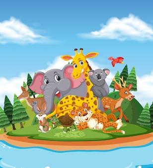 Scena z wieloma dzikimi zwierzętami nad jeziorem