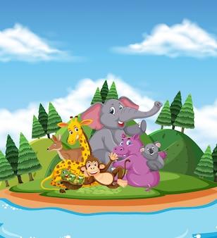 Scena z wieloma dzikimi zwierzętami nad rzeką
