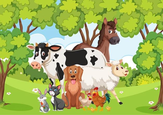 Scena z wieloma dzikimi zwierzętami w lesie