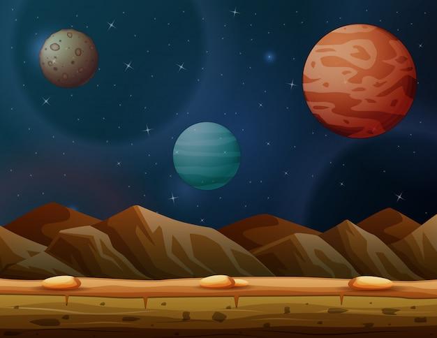Scena z wieloma planetami w galaktyce