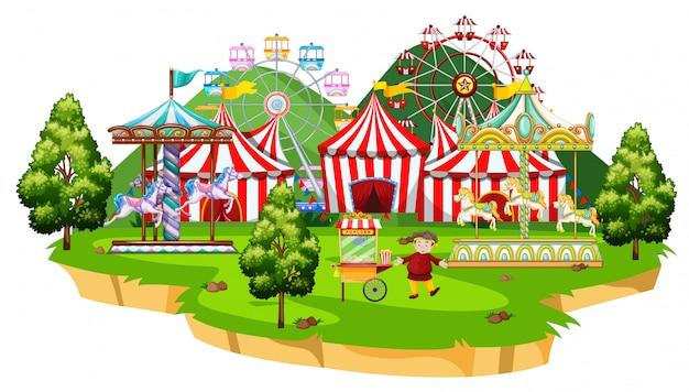 Scena z wieloma przejażdżkami w parku cyrkowym