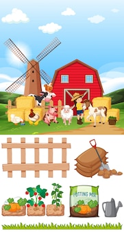Scena z wieloma zwierzętami i innymi przedmiotami na farmie