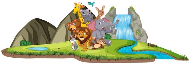 Scena z wieloma zwierzętami stojącymi przy wodospadzie