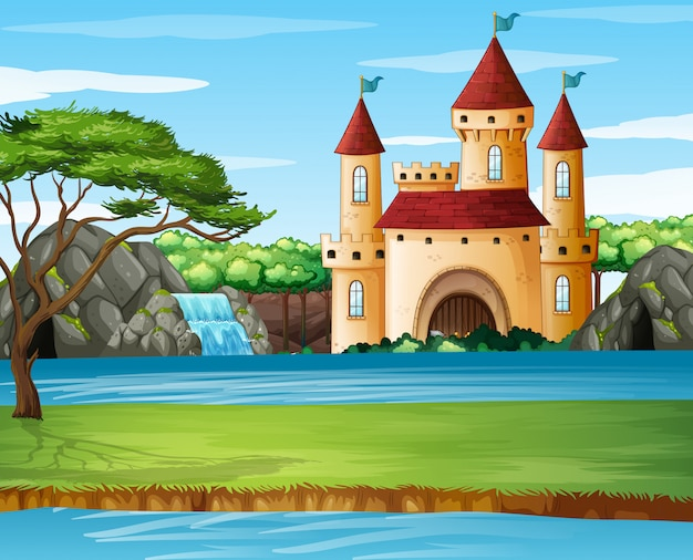 Scena z wieżami zamkowymi nad jeziorem