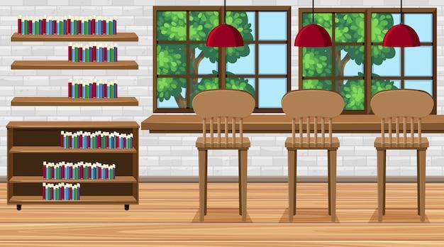 Scena z wysokimi krzesłami i książkami w pokoju