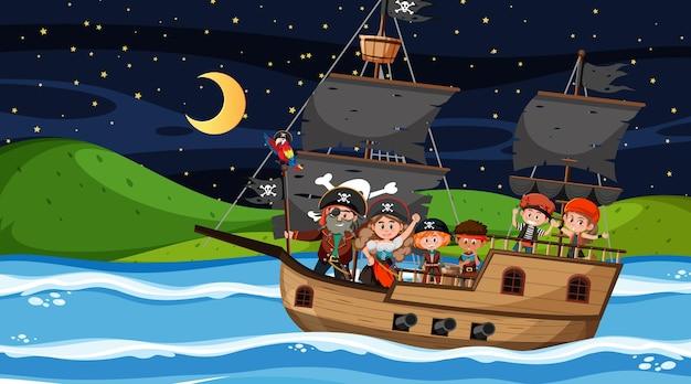 Scena z wyspą skarbów w nocy z piratami na statku