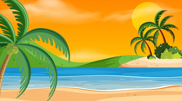 Scena zachód słońca na plaży