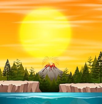 Scena zachód słońca natury
