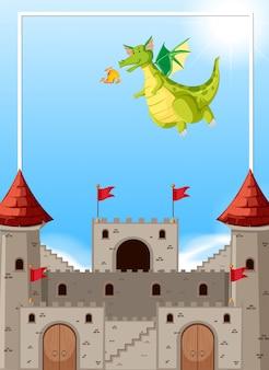 Scena zamku smoka ziejąca ogniem