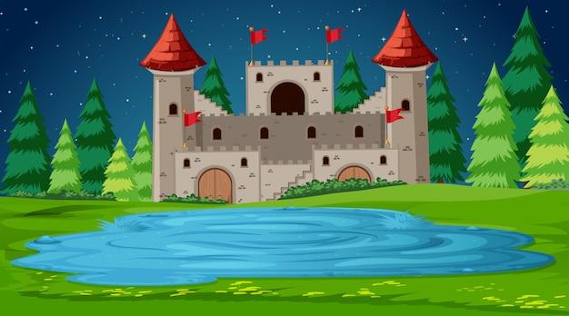 Scena zamku w nocy