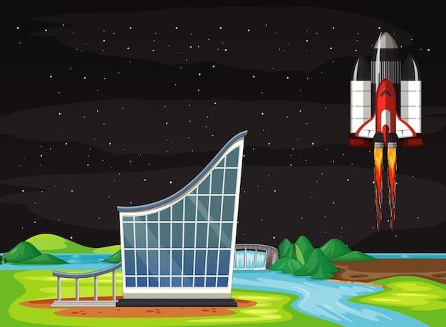 Scena ze statkiem kosmicznym latającym na niebie