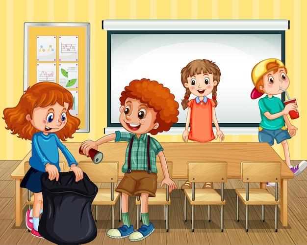 Scena ze studentami sprzątającymi klasę razem
