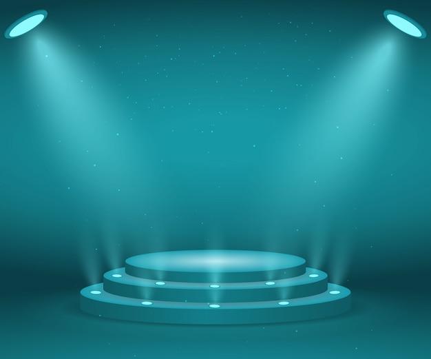 Scena ze światłami na ceremonię wręczenia nagród. podświetlane okrągłe podium. piedestał.
