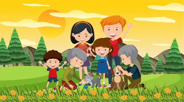 Scena ze szczęśliwą rodziną w parku
