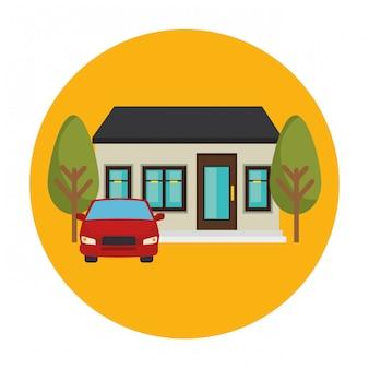 Scena zewnętrzna domu i samochodu