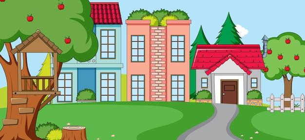 Scena zewnętrzna z frontem domu i budynku