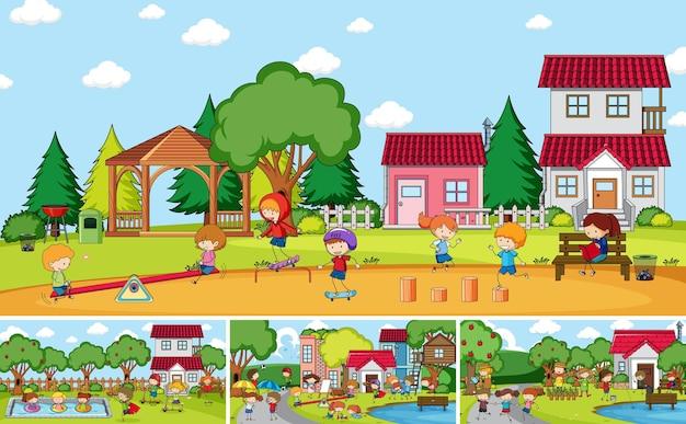 Scena zewnętrzna z wieloma dziećmi doodle postać z kreskówki