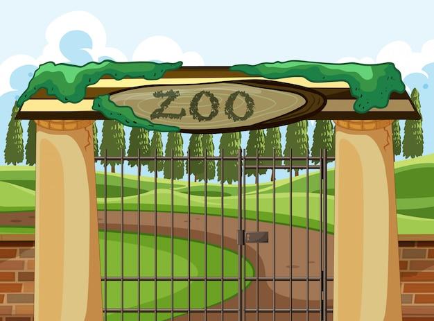 Scena zoo park z dużą bramą