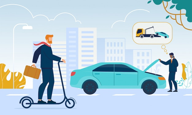 Scena życia miasta. business man riding eco scooter