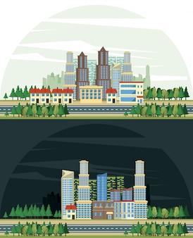 Scenariusze widoków miejskich budynków miejskich
