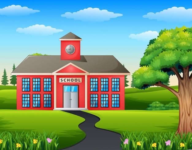 Scene scena drogowa w kierunku budynku szkoły