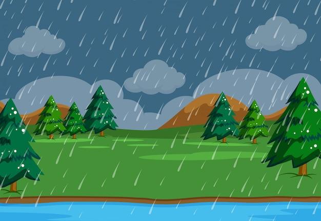 Sceneria pada deszcz w naturze