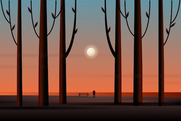 Sceneria pełnego księżyca i rozgwieżdżonego nocnego nieba z morskim krajobrazem