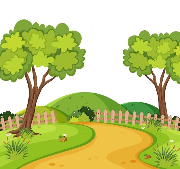Sceneria polnej drodze w parku