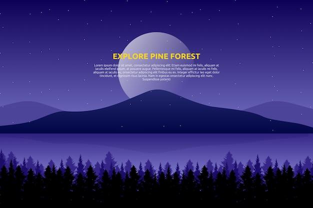 Sceneria purpurowe niebo i morze z gwiaździstą nocą i sosny drewnem na górze