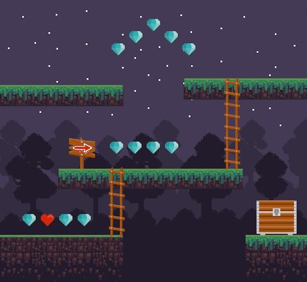 Sceneria retro gier wideo z pikselowanym terenem