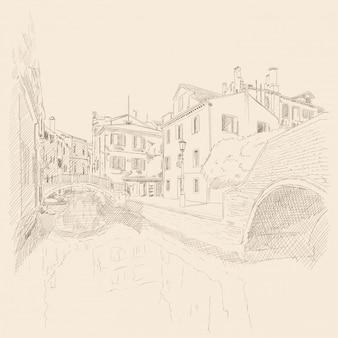 Sceneria starego miasta wenecji. starożytne budynki, kanał wodny. szkic ołówkiem.