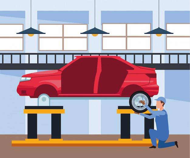 Sceneria warsztat samochodowy z mechanikiem pracuje nad karoserią