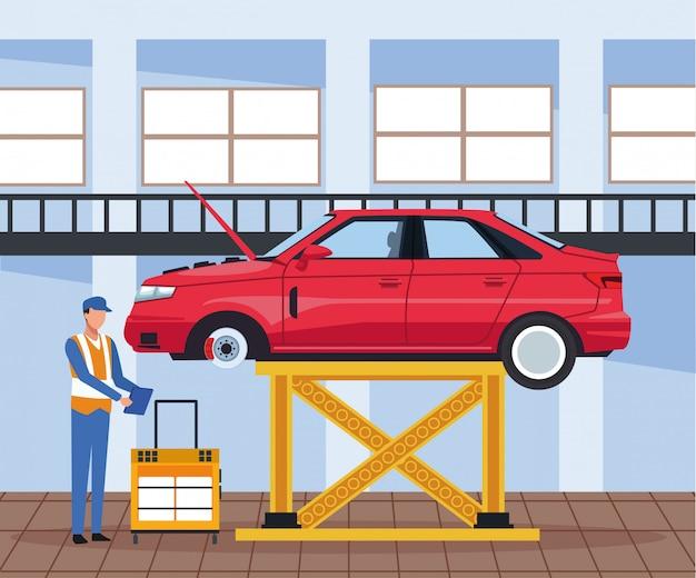 Sceneria warsztatowa z podnoszonym samochodem i nadzorem mechanika