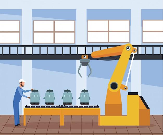 Sceneria warsztatu samochodowego z alternatorami samochodowymi na maszynie i mężczyzna stojący pracy