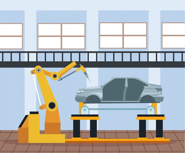 Sceneria warsztatu samochodowego z maszyną przemysłową ramienia pracującą na podniesionej karoserii