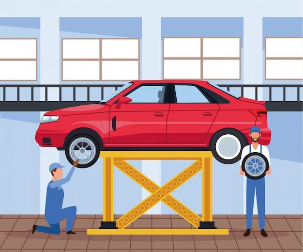 Sceneria warsztatu samochodowego z mechaniką i podniesionym samochodem