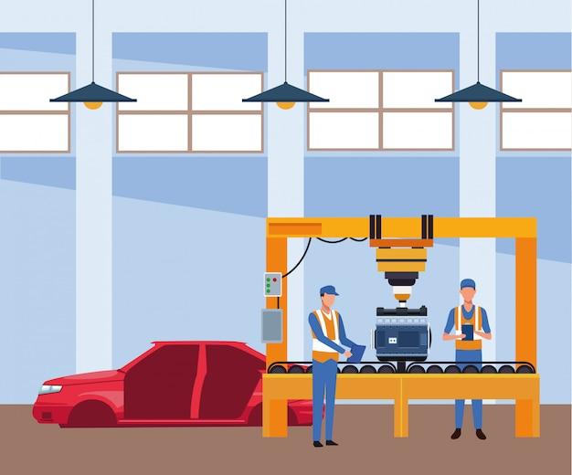 Sceneria warsztatu samochodowego z mechanikami pracującymi na maszynie i karoserii