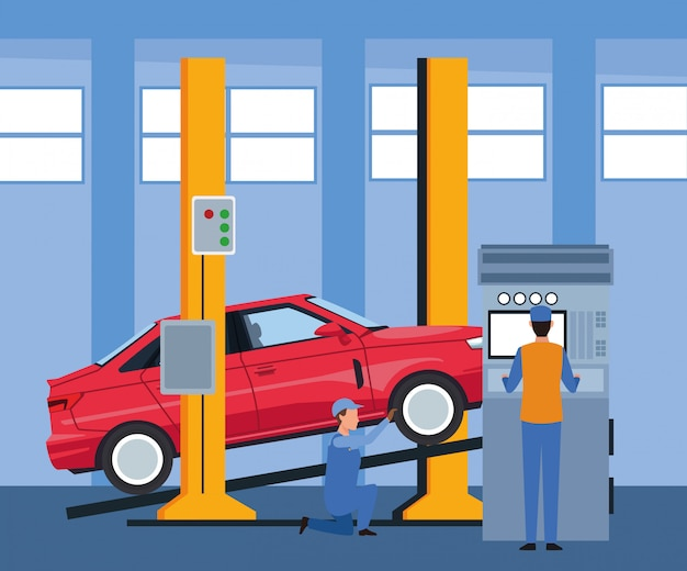 Sceneria warsztatu samochodowego z mechanikami pracującymi na maszynie i podniesionym samochodem