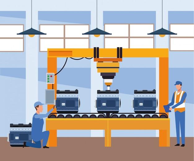Sceneria warsztatu samochodowego z mechanikami pracującymi z silnikami samochodowymi